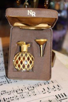 Vintage Nina Ricci Paris Perfume Bottle Funnel Brown Suede Case Rare Collectible #NinaRicci