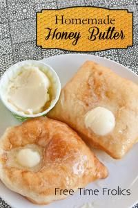 Homemade Honey Butter  Ingredients  1/2    cup    butter  1/4    cup    honey  1    tablespoon    powdered sugar   Directions  Whip all ingredients together. Serve