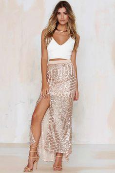 Tiger Mist Girl Around Town Sequin Skirt - Blush