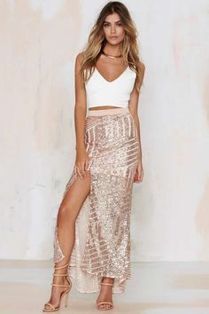 Tiger Mist Girl Around Town Sequin Skirt - Blush | Shop Clothes at Nasty Gal!