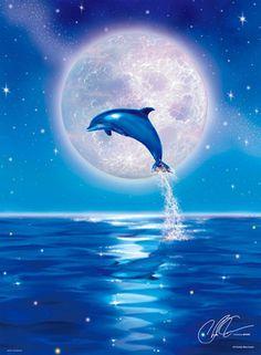 ウィズ ザ ムーン With The moon Dolphin Images, Dolphin Photos, Dolphin Art, Dolphin Painting, Beautiful Nature Wallpaper, Beautiful Moon, Ocean Art, Ocean Life, Animal Drawings