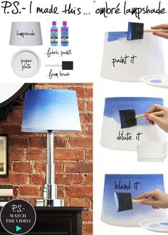 Blue ombre lampshade DIY / Craft...just in case I decide to ever ombré it