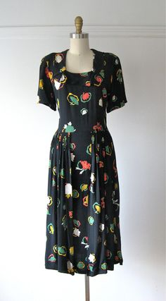 vintage 1940s dress / 40s dress / Under the Umbrella by Dronning