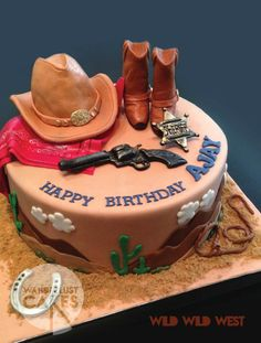 Servando Wild Wes t Western Theme Cakes, Western Birthday Cakes, Rodeo Birthday Parties, Cowgirl Cakes, 4th Birthday, Cowboy Party, Cowboy Food, Anniversaire Cow-boy, Chapeau Cowboy