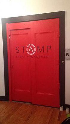 STAMP LOGO ELEVATOR MURAL red elevator door stamp black and white text logo art stencil font hand painted interior design decor craft (347) 223-7533   info@muralpainternyc.com www.muralpainternyc.com