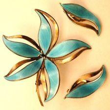Hroar Prydz 925s/Enamel Norway/Norwegian Sterling Blue Flower Brooch Earring Set