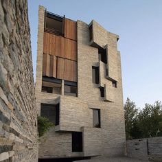 Here's another apartment block in Iran. Located in Mahallat, Tehran studio Architecture by Collective Terrain constructed the building using the otherwise useless offcuts from local stonecutting businesses.