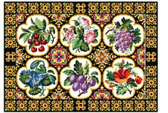 Fruit and floral border. Cross stitch pattern. by rolanddesigns