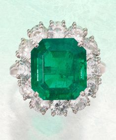 Emeralds at Sotheby's Spring Auctions: A May Birthstone Report: Platinum, Emerald and Diamond Ring, France Diamond Tiara, Diamond Drop Earrings, Art Deco Diamond, Emerald Diamond, Emerald Green, Emerald Jewelry, Silver Jewelry, Fine Jewelry, Emerald Rings