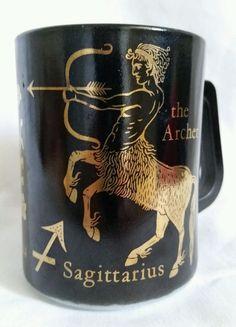 Vintage Sagittarius Coffee Mug Federal Glass Acher Zodiac Sign Black Gold Cup