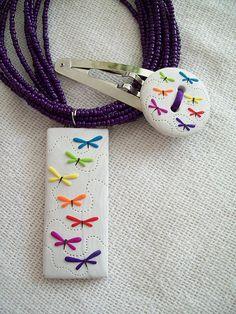 Juego Dije y Pasador Mariposas Colores