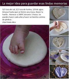 Salt Dough Footprint Keepsakes - The Imagination Tree Baby Footprint Crafts, Baby Handprint Crafts, Fish Handprint, Baby Footprints, Baby Keepsake, Keepsake Crafts, Baby Memories, Baby Art, Toddler Crafts
