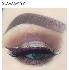 Neutral eyeshadow with plum winged eyeliner and glitter liner detail Gorgeous Makeup, Pretty Makeup, Love Makeup, Makeup Inspo, Makeup Inspiration, Beauty Makeup, Uk Makeup, Cheap Makeup, Kiss Makeup