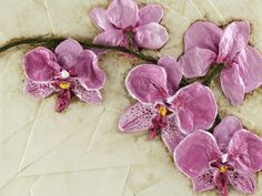 "Orchids Size: 14"" x 20""  weight 5.45 lbs Handcrafted Relief Sculpture"