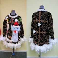 b4d55d9ace7 OOAK 3-D Fuzzy Furry Kitty Cat Hilarious Tacky Ugly Christmas Sweater  Feather Boa FooFoo Trim Lightup Womens SZ XL Sexy Mini Dress