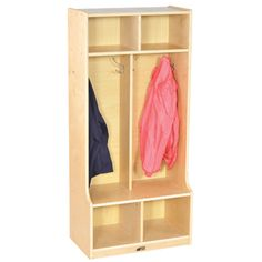 Create new storage or add on to your current storage with the 2 Section Birch Coat Locker by ECR4Kidz. Perfect for the classroom or your mudroom, the locker unit will comfortably hold jackets, coats, bookbags, shoes, boots and accessories for up to (4) children.