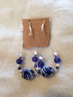 Navy blue and silver handmade hoop earrings. www.etsy.com/shops/nealycreations