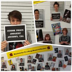 Banned Book Week - Busted for Reading Banned Books! My intern and I took this mugshot idea from Pinterest and tweeked for our own BBW display. Snagged the mugshot background off Google Images, made a poster out of it, created the Censor Police...