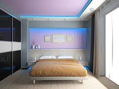 The lighting in this room is rather unique in that it is hidden. It is kind of recessed into the ceiling and into the walls, giving off a faint blue hue throughout the room. The only thing that could make this better is if the color could change from say green to blue to purple and so on, or if you could change the intensity.