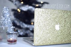 Obsessed with this case!!  Glitter MacBook Case CHAMPAGNE GOLD by EmbriShop on Etsy