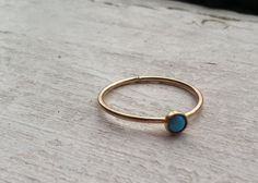 3mm Turquoise and 14k Gold Fill Stacking by HomegrownSilverStone