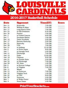 Louisville Cardinals 2016-2017 College Basketball Schedule