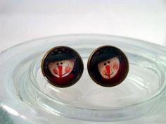 Snowman antique brass post earrings