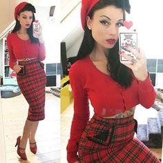"""Kitty Wunderlich ( """"Wuuuaahhh that skirt 🏹❤️ Diva Fashion, 1950s Fashion, Vintage Fashion, Classy Fashion, Rockabilly Outfits, Rockabilly Fashion, Rockabilly Girls, Rockabilly Style, Pin Up Outfits"""