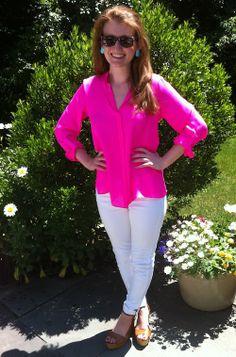 hot pink shirt + white denim