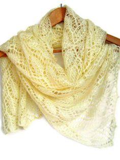 Lace shawl Angora yarn Gift her wedding birthday by ATLASKNITSHOP, $149.00