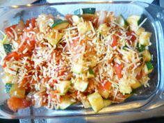 Ingrediënten  1 courgette in stukjes gesneden  1 gesnipperde ui  4 ontvelde tomaten (leg tomaten in kokend water en verwijder het vel)  1 p...