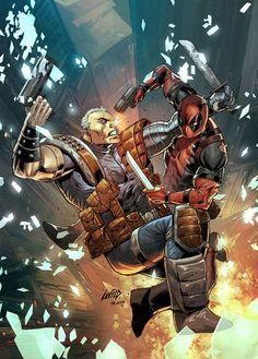 #Deadpool #Fan #Art. (Deadpool & Cable: Split Second Vol.1 #1 Cover) By: Liefeld. (THE * 5 * STÅR * ÅWARD * OF: * AW YEAH, IT'S MAJOR ÅWESOMENESS!!!™) ÅÅÅ+