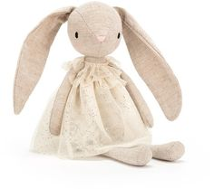 The Jolie Bunny Plush Toy by Jellycat is bouncing with sparkles in a glittering buttercream dress! Flopsy-eared and nuzzly-neutral Bunny Toys, Bunny Plush, Bunnies, Handmade Stuffed Animals, Baby Stuffed Animals, Baby Accessoires, Jellycat, Sewing Toys, Plush Animals
