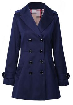 Navy Notch Lapel Long Sleeve Epaulet Outerwear pictures