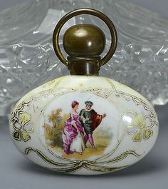 Antique ART Nouveau Pearlescent Porcelain Painted Couple Perfume Bottle | eBay