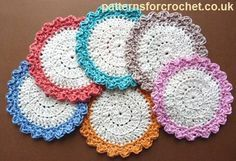 Free crochet pattern for circular cotton coasters http://www.patternsforcrochet.co.uk/circular-coaster-usa.html #patternsforcrochet