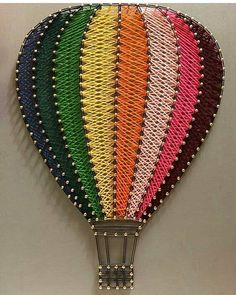 Hot air balloon string item no. hot air balloon string item no. String Art Balloons, String Art Diy, String Crafts, String Art Templates, String Art Tutorials, String Art Patterns, Arte Linear, Diy And Crafts, Arts And Crafts