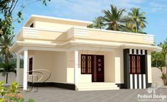 A one bedroom single story residence in 60 m² lot will be easy to build and maintain. Enjoy the spirit of this cute and cool house with a roof deck. Single Floor House Design, House Roof Design, House Outside Design, Simple House Design, 2bhk House Plan, Model House Plan, Simple House Plans, Garage House Plans, House Design Pictures