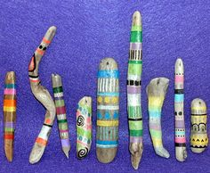 9 Handpainted Driftwood Beads Tribal Bright by HouseofJunque, $32.50