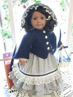 """1800's Historic Doll Coat and Bonnet to fit your 18"""" American Girl Doll in Navy Blue Wool by Emmakate0 on Etsy"""