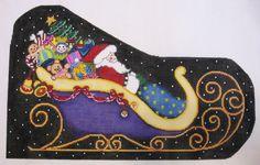 Needlepoint Santa and Sleigh Canvas