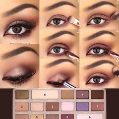 1. With a dense shader brush, apply Amaretto to the lid--avoiding the upper lash line--and the lower lash line, from inner to outer corner. 2. Smoke out the previous color with Semi-Sweet and Salted Caramel on an angled crease brush. I dipped the whole brush into Salted Caramel with the tip i