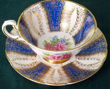 Paragon Exquisite Royal Blue Rich Gold & Flowers Fine Bone China Cup & Saucer