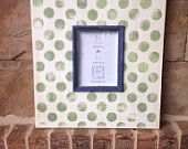 Large handmade solid wood painted polka dot frame