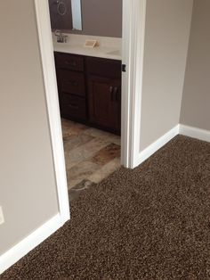 brown carpet with grey walls - Google Search Would prefer to not add yet another shade of gray but this shade looks nice