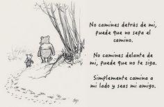 ekeyart: ¿Qué es la amistad? Una ilustración de Winny the Pooh con una frase de Albert Camus... Frases Indie, Indie Quotes, Life Quotes, Frases Disney, Disney Quotes, Albert Camus, Spanish Quotes, France, Disney Pixar