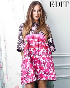 Pin for Later: These SJP Photos Are Classic Carrie Bradshaw Sarah Jessica Parker's Net-a-Porter.com Photo Shoot Sarah Jessica Parker in a Mary Katrantzou coat. Photo courtesy of NET-A-PORTER