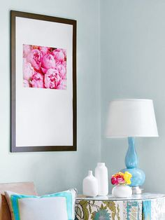 Enlarge your favorite photo and place it in an oversize frame. More weekend home decorating projects: http://www.bhg.com/decorating/do-it-yourself/accents/easy-weekend-decorating-projects/?socsrc=bhgpin082513largephoto=16