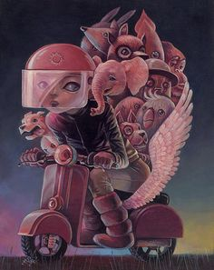 This is one of the coolest things I have ever seen. I love all the animals with the girl on one small bike!  Creative Illustrations by Aaron Jasinski