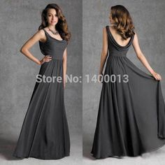 Find More Bridesmaid Dresses Information about New Design Off Shoulder Scoop Long Chiffon Cheap Dark Grey Bridesmaid Dresses For Girls,High Quality Bridesmaid Dresses from BlingDressHouse on Aliexpress.com